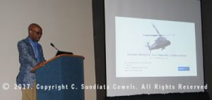 Standing at podium introducing my documentary trailer about the Kaman UH-2 Tomahawk